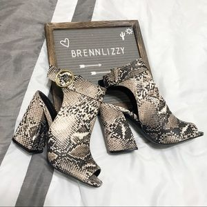 Snake Print Ankle Booties Cut Out Back Peep Toe